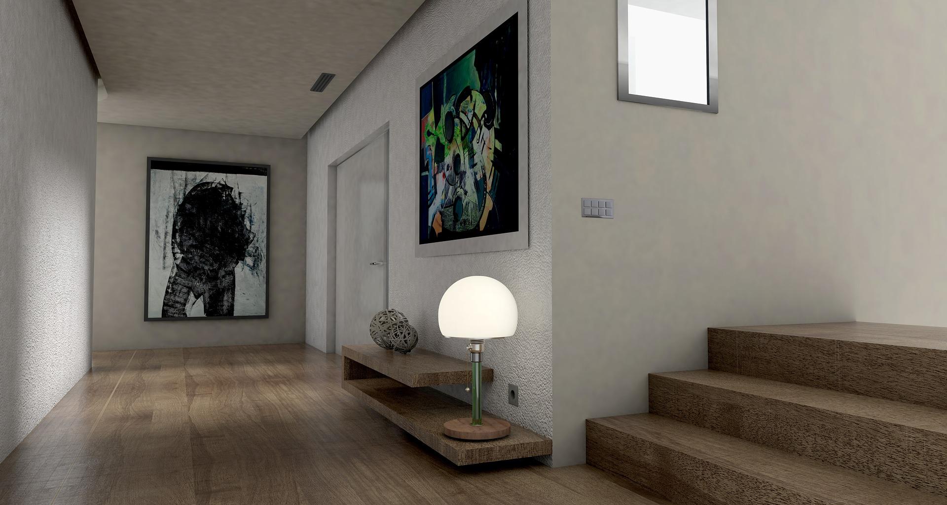 בית מעוצב ומסודר עם תמונות על הקירות